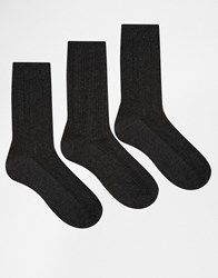 Lovestruck 3 Pack Socks In Grey Cable Knit Grey Cable