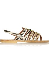 K Jacques St Tropez Calf Hair And Neon Patent Leather Sandals Animal Print