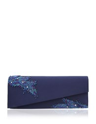 Nina Macyn Satin Crossbody Clutch Navy Blue