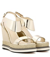 Nicholas Kirkwood Metallic Leather Wedge Sandals Gold