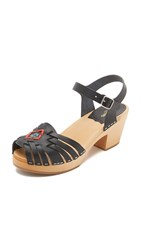 Swedish Hasbeens Huarache High Sandals Black Nature