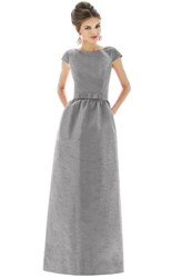 Women's Alfred Sung Cap Sleeve Dupioni Full Length Dress Quarry