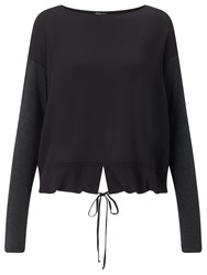 Crea Concept Drawstring Hem Top Black Grey