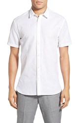 Men's John Varvatos Star Usa Slim Fit Pintuck Short Sleeve Sport Shirt White