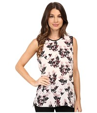 Vince Camuto Sleeveless Leaf Trio Blouse Flora Pink Women's Blouse