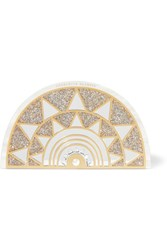 Charlotte Olympia Irona Mirror Embellished Glittered Perspex Clutch Cream