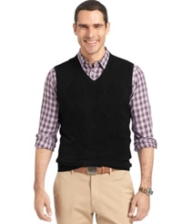 Van Heusen Big And Tall Solid Argyle Vest Black