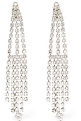 Saint Laurent Silver Tone Crystal Clip Earrings