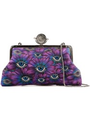 Sarah's Bag Floral Eye Embroidery Clutch Pink Purple