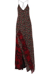 R 13 R13 Ruffled Printed Silk Chiffon Maxi Dress Black