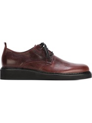 Ann Demeulemeester Distressed Lace Up Shoes Red