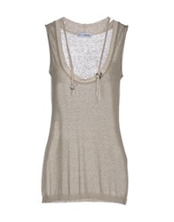 Lo Not Equal Sleeveless Sweaters Khaki