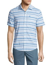 Penguin Short Sleeve Horizontal Stripe Shirt Bright White Crystal Blue