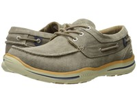 Skechers Relaxed Fit Elected Horizon Light Brown Washed Canvas Men's Shoes