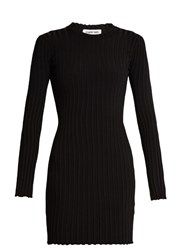 Elizabeth And James Penny Long Sleeved Ribbed Knit Dress Black