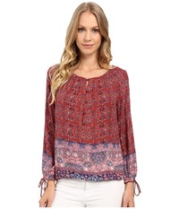 Lucky Brand Tapestry Print 3 4 Sleeve Top Red Multi Women's Long Sleeve Pullover