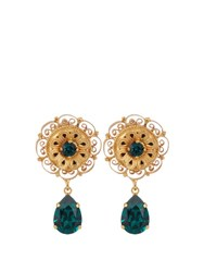 Dolce And Gabbana Teardrop Crystal Embellished Earrings Green Gold