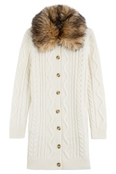 Red Valentino Virgin Wool Cardigan With Faux Fur Trim White