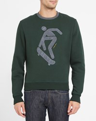 Carven Forest Green Round Neck Sweatshirt With Contrasting Grey Figure