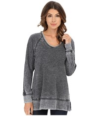 Allen Allen Long Sleeve Raglan Vee Tunic Black Women's Sweater