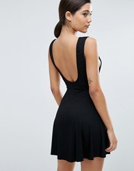 Asos Scoop Back Low Armhole Mini Skater Dress Black