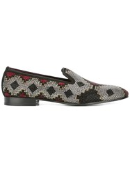 Louis Leeman Crystal Embellished Slippers Black
