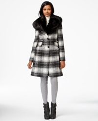 Laundry By Shelli Segal Faux Fur Collar Plaid A Line Coat Black White