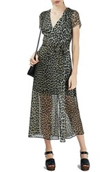 Topshop Women's Leopard Print Wrap Dress