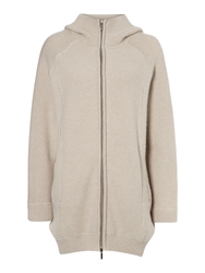 Max Mara Zambra Oversized Zip Up Hooded Cardigan Off White