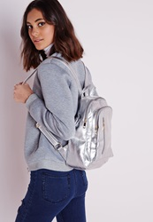Missguided Rounded Zip Detail Backpack Silver