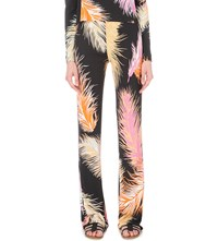 Emilio Pucci Feather Print Crepe Palazzo Trousers Blk
