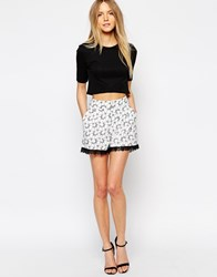 Girls On Film Floral Print Shorts With Lace Detail Multi