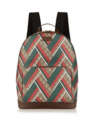 Gucci Gg Supreme Chevron Print Backpack Brown Multi