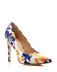 Vince Camuto Kain Floral Print Pointed Toe High Heel Pumps Purple Multi