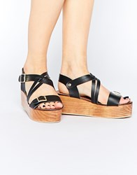 Park Lane Leather Flatform Sandals Black
