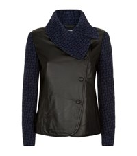Armani Collezioni Tweed Sleeve Leather Jacket Female Black