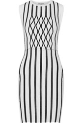 Opening Ceremony Argyle Striped Ponte Mini Dress White