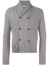 Malo Cable Knit Buttoned Cardigan Grey