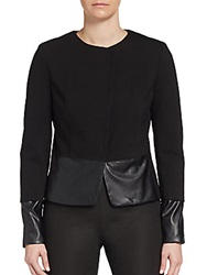 Saks Fifth Avenue Black Snap Front Faux Leather Trimmed Jacket Black