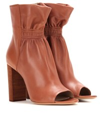 Chloe Leather Peep Toe Ankle Boots Brown