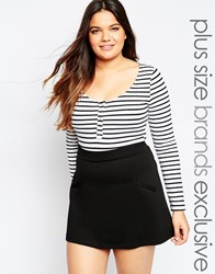 Alice And You Long Sleeve Button Up Stripe Body Blackwhite