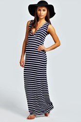 Boohoo Plunge Striped Jersey Maxi Dress Navy