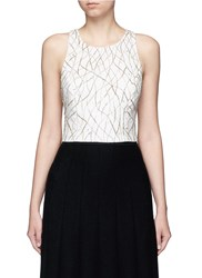 Alice Olivia 'Joel' Beaded Overlay Cross Back Top White