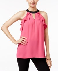 Ny Collection Contrast Ruffled Halter Blouse Azalea Pink