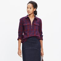 Madewell Flannel Zip Front Popover Shirt In Mckinney Plaid