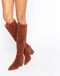 Asos Carina Suede Pointed Slouch Knee High Boots Brick Suede Brown