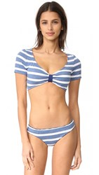 Splendid Chambray Stripe Crop Top Blue