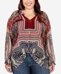 Lucky Brand Plus Size Long Sleeve Printed Blouse Navy