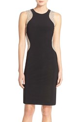 Xscape Evenings Women's Xscape Beaded Mesh And Jersey Sheath Dress