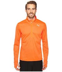 Puma Pe Running Long Sleeve Half Zip Tee Shocking Orange Heather Men's T Shirt